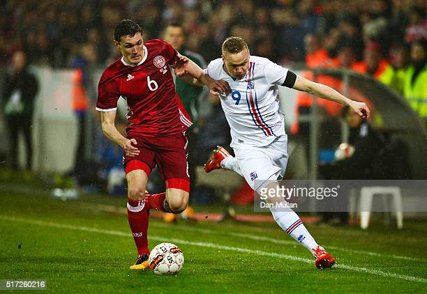 Andreas Christensen of Denmark battles for the ball with Kolbeinn Sigthorsson of Iceland during the International Friendly match between Denmark and...