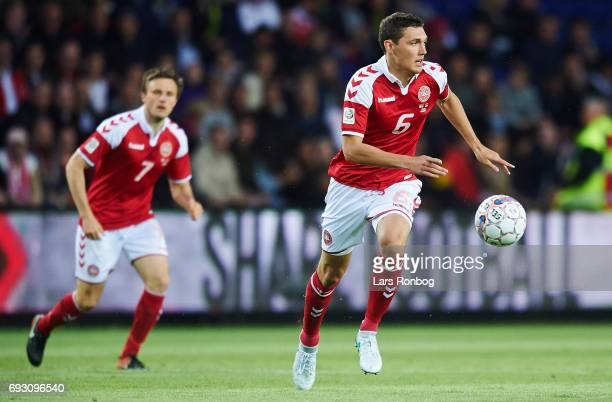 Andreas Christensen of Denmark in action during the international friendly match between Denmark and Germany at Brondby Stadion on June 6 2017 in...
