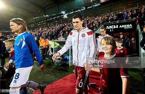 Andreas Christensen of Denmark walks on to the pitch prior to the international friendly match between Denmark and Iceland at MCH Arena on March 24...
