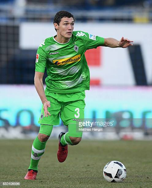 Andreas Christensen of Gladbach controls the ball during the Bundesliga match between SV Darmstadt 98 and Borussia Moenchengladbach at Stadion am...