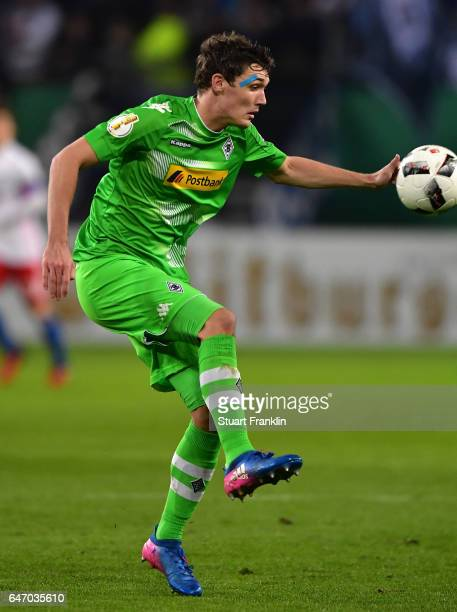 Andreas Christensen of Gladbach in action during the DFB Cup quarter final between Hamburger SV and Borussia Moenchengladbach at Volksparkstadion on...