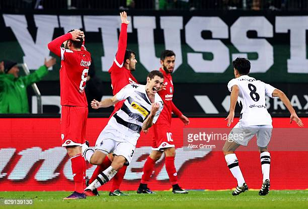 Andreas Christensen of Moenchengladbach celebrates after he scores the opening goal during the Bundesliga match between Borussia Moenchengladbach and...