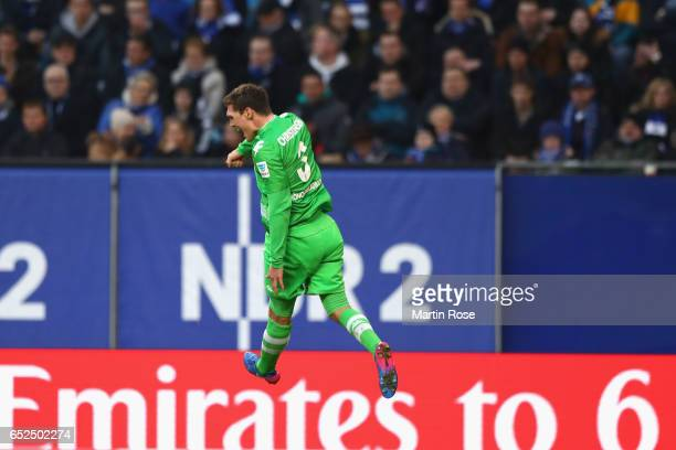 Andreas Christensen of Moenchengladbach celebrates scoring the first team goal during the Bundesliga match between Hamburger SV and Borussia...