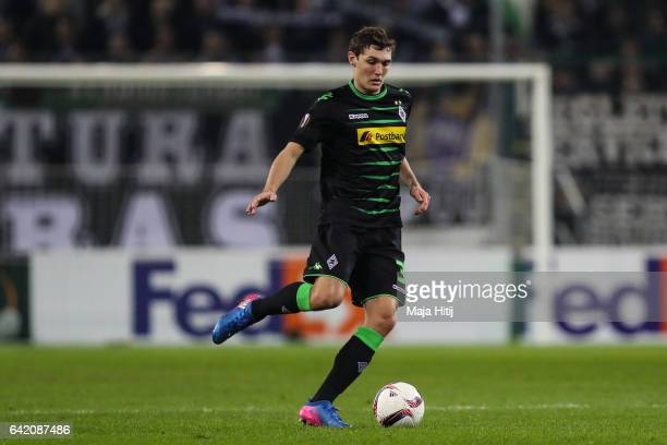 Andreas Christensen of Moenchengladbach controls the ball during the UEFA Europa League Round of 32 first leg match between Borussia Moenchengladbach...