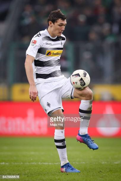 Andreas Christensen of Moenchengladbach controls the ball during the Bundesliga match between Borussia Moenchengladbach and RB Leipzig at...