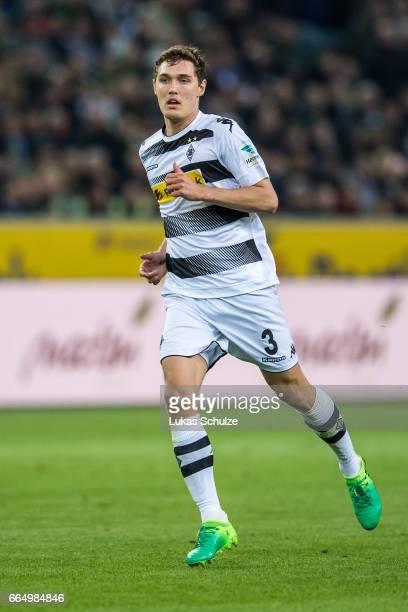 Andreas Christensen of Moenchengladbach in action during the Bundesliga match between Borussia Moenchengladbach and Hertha BSC at BorussiaPark on...