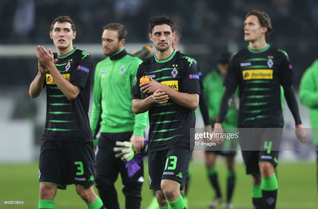 Andreas Christensen of Moenchengladbach , Lars Stindl and Jannik react after the UEFA Europa League Round of 32 first leg match between Borussia Moenchengladbach and ACF Fiorentina at Borussia Park Stadium on February 16, 2017 in Moenchengladbach, Germany.