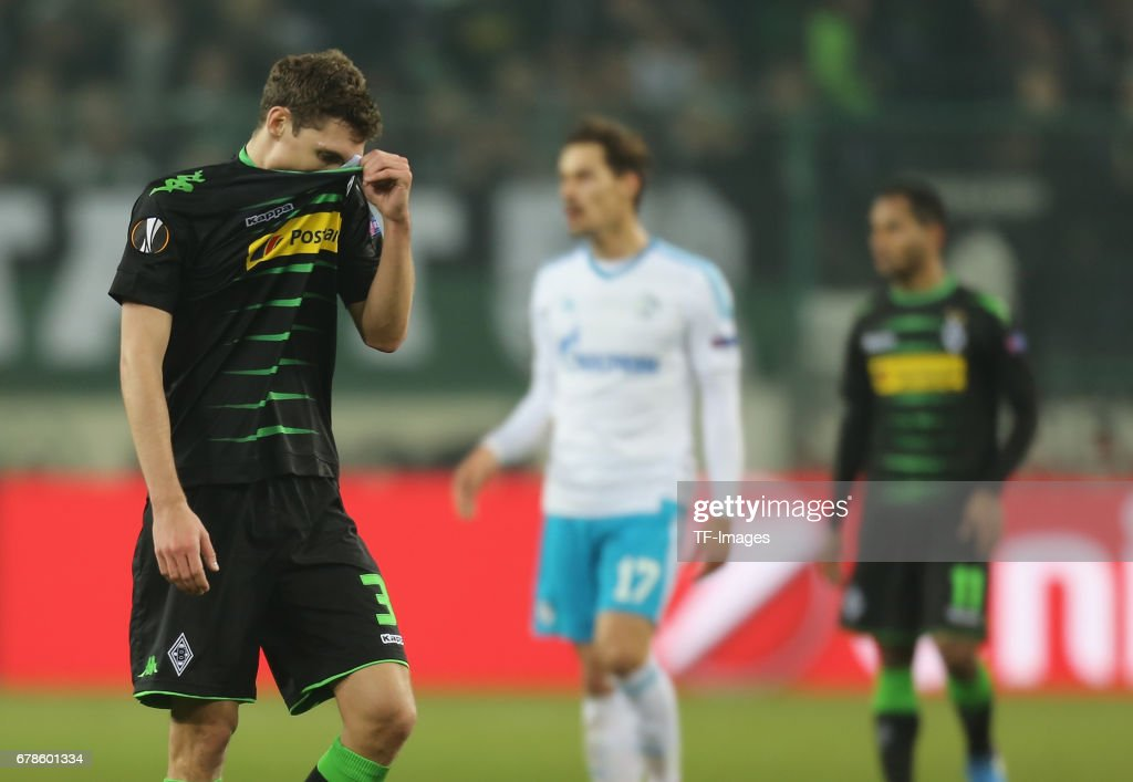 Andreas Christensen of Moenchengladbach looks dejected after the UEFA Europa League Round of 16 second leg match between Borussia Moenchengladbach and FC Schalke 04 at Borussia Park Stadium on March 16, 2017 in Moenchengladbach, Germany.