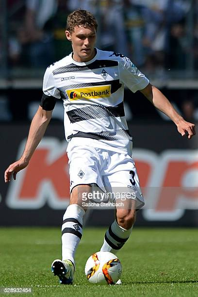 Andreas Christensen of Moenchengladbach plays the ball during the Bundesliga match between Borussia Moenchengladbach and Bayer Leverkusen at...