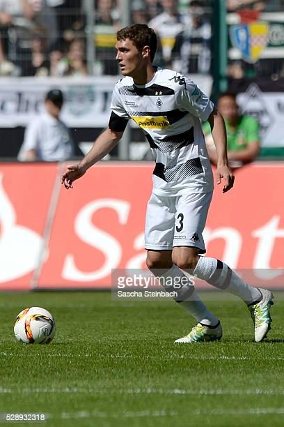 Andreas Christensen of Moenchengladbach runs with the ball during the Bundesliga match between Borussia Moenchengladbach and Bayer Leverkusen at...