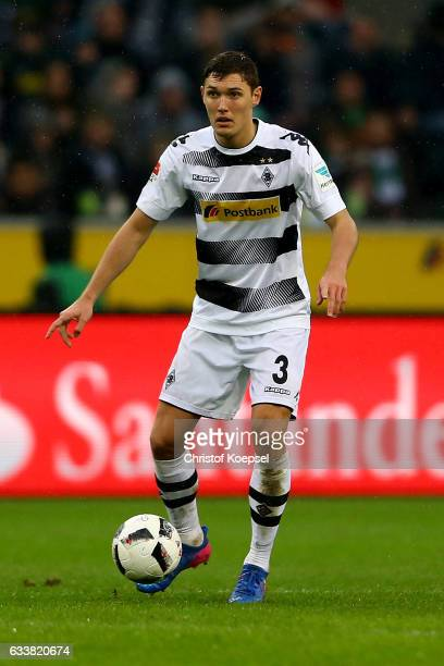 Andreas Christensen of Moenchengladbach runs with the ball during the Bundesliga match between Borussia Moenchengladbach and SC Freiburg at...