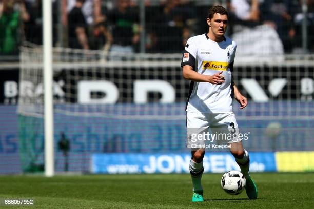 Andreas Christensen of Moenchengladbach runs with the ball during the Bundesliga match between Borussia Moenchengladbach and SV Darmstadt 98 at...