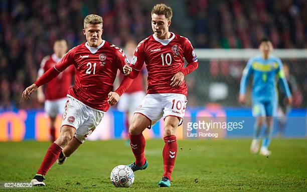 Andreas Cornelius and Christian Eriksen of Denmark in action during the FIFA 2018 World Cup Qualifier match between Denmark and Kazakhstan at Telia...