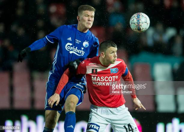 Andreas Cornelius and Dennis Flinta of Silkeborg IF the Danish Alka Superliga match between Silkeborg IF and FC Copenhagen at Mascot Park on March 19...