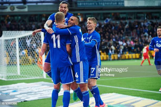 Andreas Cornelius Federico Santander Youssef Toutouh and Kasper Kusk of FC Copenhagen celebrate after scoring their first goal during the Danish Alka...