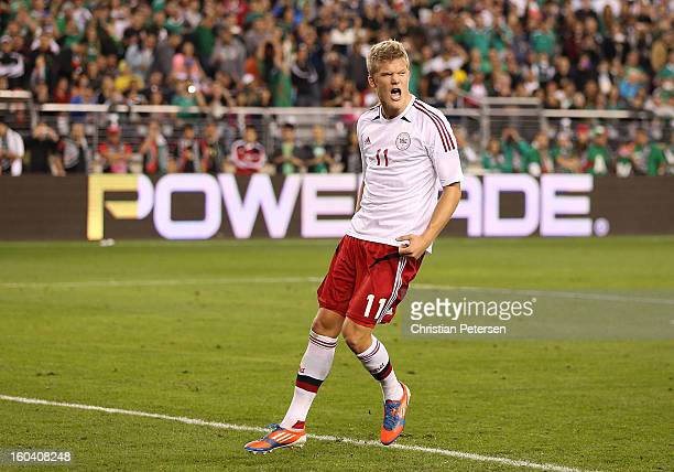 Andreas Cornelius of Denmark celebrates after scoring on a penalty kick against Mexico during the second half of an international friendly match at...