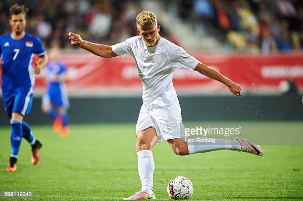 Andreas Cornelius of Denmark in action during the international friendly match between Denmark and Liechtenstein at Casa Arena on August 31 2016 in...