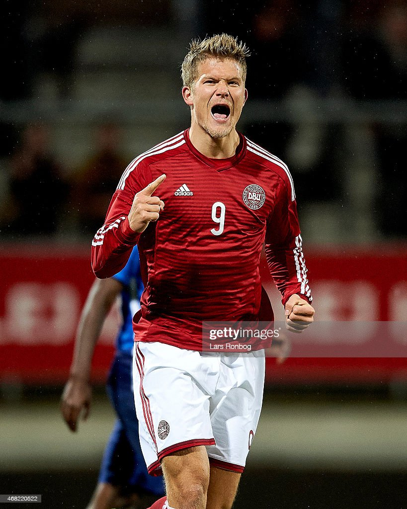 <a gi-track='captionPersonalityLinkClicked' href=/galleries/search?phrase=Andreas+Cornelius&family=editorial&specificpeople=8617821 ng-click='$event.stopPropagation()'>Andreas Cornelius</a> of Denmark U21 celebrates after scoring their first goal during the U21 International Friendly match between Denmark U21 and Unites States U21 at Lyngby Stadion on March 31, 2015 in Lyngby, Denmark.