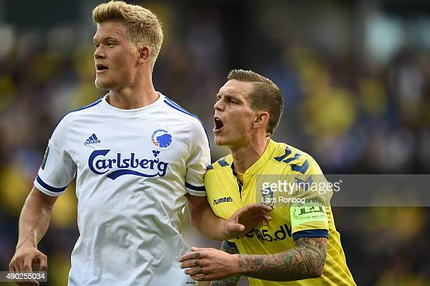 Andreas Cornelius of FC Copenhagen and Daniel Agger of Brondby IF looks on during the Danish Alka Superliga match between Brondby IF and FC...