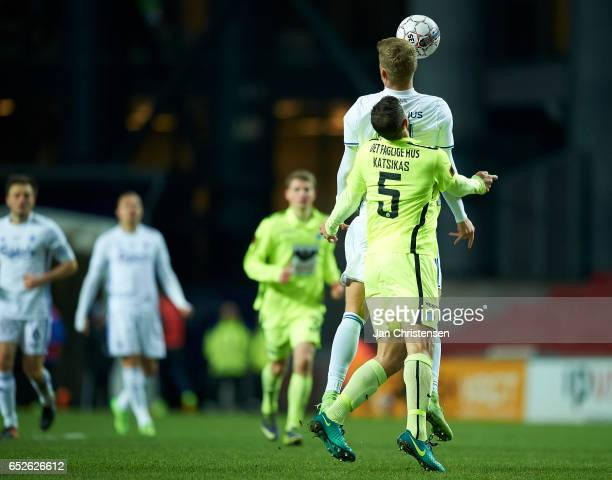 Andreas Cornelius of FC Copenhagen and Giorgos Katsikas of Esbjerg fB heading the ball during the Danish Alka Superliga match between FC Copenhagen...