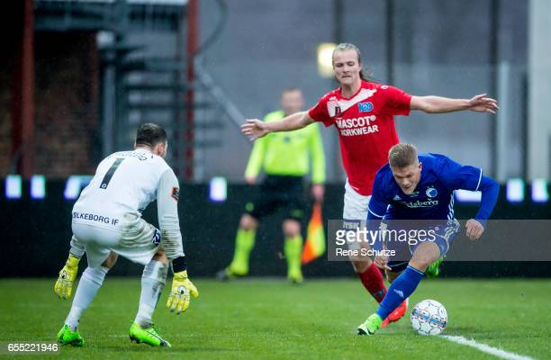 Andreas Cornelius of FC Copenhagen and Goalkeeper Thomas Norgaard of Silkeborg IF the Danish Alka Superliga match between Silkeborg IF and FC...