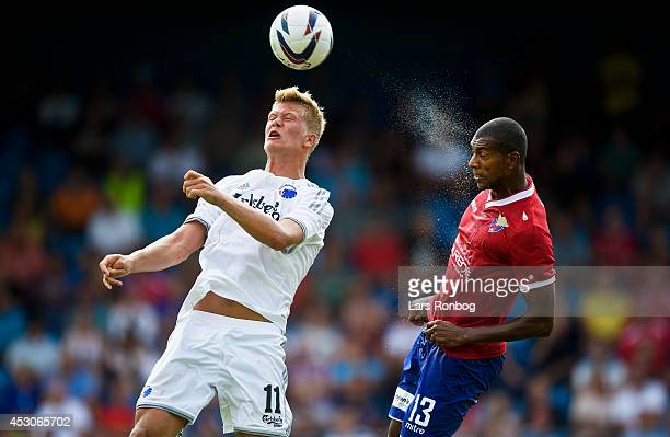 Andreas Cornelius of FC Copenhagen and JeanClaude Adrimer Bozga of FC Vestsjalland compete for the ball during the Danish Superliga match between FC...