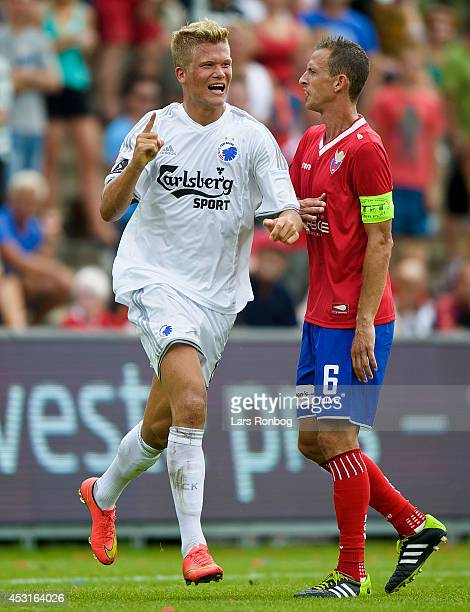Andreas Cornelius of FC Copenhagen celebrates after scoring their first goal during the Danish Superliga match between FC Vestsjalland and FC...