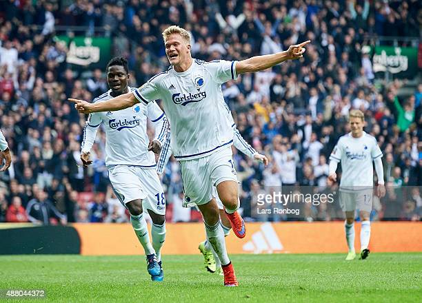 Andreas Cornelius of FC Copenhagen celebrates after scoring their first goal during the Danish Alka Superliga match between FC Copenhagen and AaB...