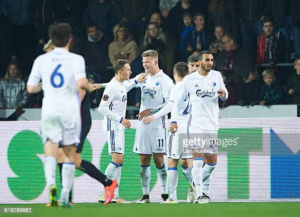 Andreas Cornelius of FC Copenhagen celebrates after scoring their third goal during the Danish Alka Superliga match between FC Midtjylland and FC...