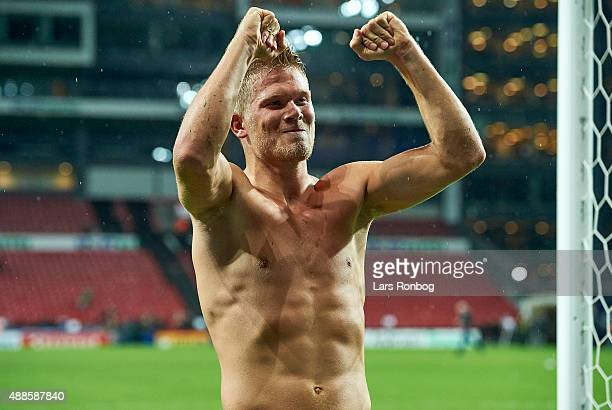 Andreas Cornelius of FC Copenhagen celebrates their victory after the Danish Alka Superliga match between FC Copenhagen and Randers FC at Telia...