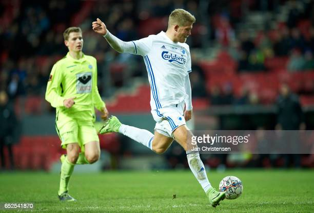 Andreas Cornelius of FC Copenhagen controls the ball during the Danish Alka Superliga match between FC Copenhagen and Esbjerg fB at Telia Parken...