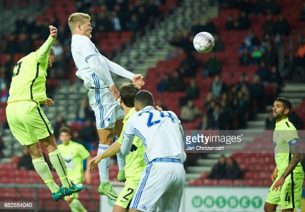Andreas Cornelius of FC Copenhagen heading the 20 goal during the Danish Alka Superliga match between FC Copenhagen and Esbjerg fB at Telia Parken...