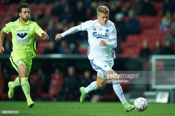 Andreas Cornelius of FC Copenhagen in action during the Danish Alka Superliga match between FC Copenhagen and Esbjerg fB at Telia Parken Stadium on...