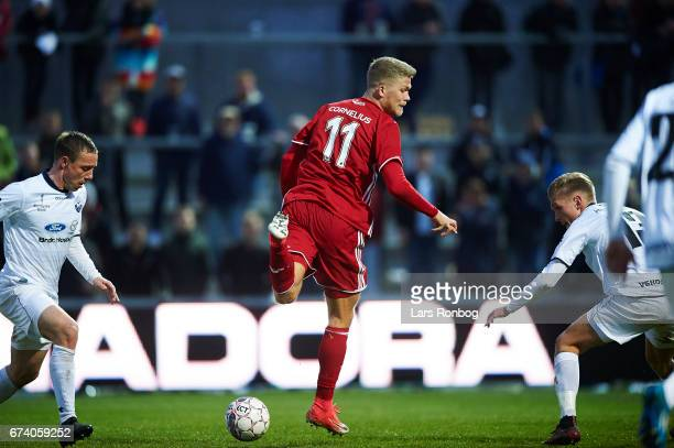 Andreas Cornelius of FC Copenhagen in action during the Danish cup DBU Pokalen semfinal match between Vendsyssel FF and FC Copenhagen at Bredband...