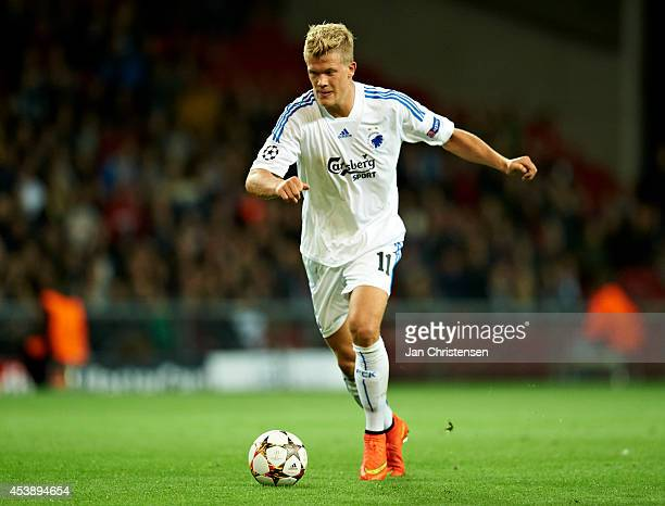 Andreas Cornelius of FC Copenhagen in action during the UEFA Champions League Qualifying PlayOffs Round First Leg between FC Copenhagen and Bayer...