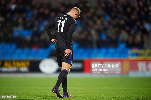 Andreas Cornelius of FC Copenhagen leaving the pitch injured during the Danish Alka Superliga match between AaB Aalborg and FC Copenhagen at...