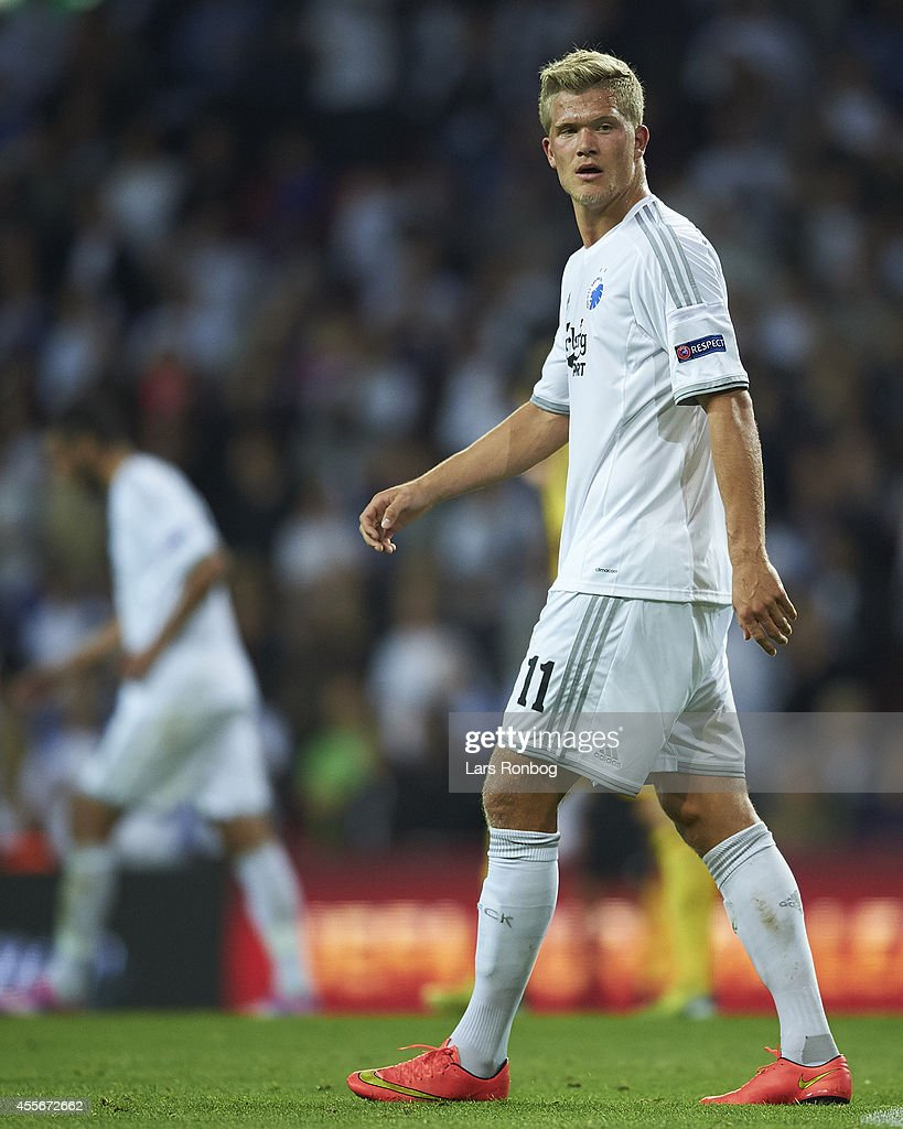 <a gi-track='captionPersonalityLinkClicked' href=/galleries/search?phrase=Andreas+Cornelius&family=editorial&specificpeople=8617821 ng-click='$event.stopPropagation()'>Andreas Cornelius</a> of FC Copenhagen looks on during the UEFA Europa League match between FC Copenhagen and HJK Helsinki at Parken Stadium on September 18, 2014 in Copenhagen, Denmark.