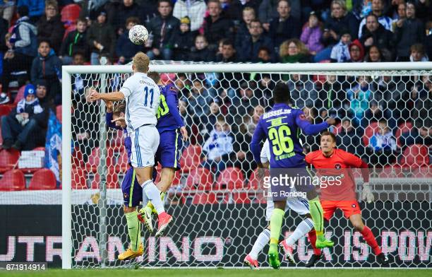 Andreas Cornelius of FC Copenhagen scores the 10 goal against Goalkeeper Johan Dahlin of FC Midtjylland during the Danish Alka Superliga match...