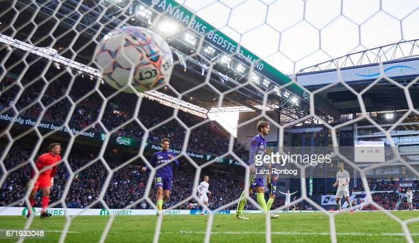 Andreas Cornelius of FC Copenhagen scores the 20 goal against Goalkeeper Johan Dahlin of FC Midtjylland during the Danish Alka Superliga match...