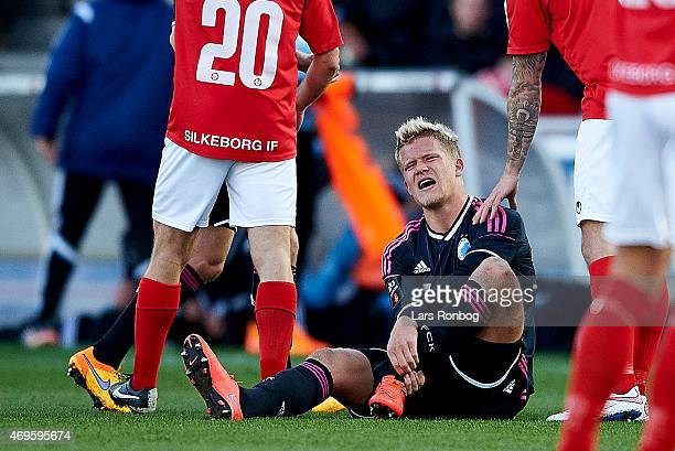 Andreas Cornelius of FC Copenhagen sitting on the pitch injured on his left food during the Danish Alka Superliga match between Silkeborg IF and FC...