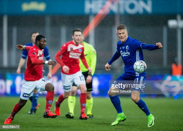 Andreas Cornelius of FC Copenhagen the Danish Alka Superliga match between Silkeborg IF and FC Copenhagen at Mascot Park on March 19 2017 in...