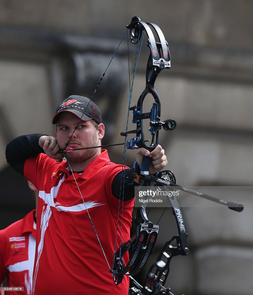 Andreas Darum of Denmark shoots during the Mens Compound Team Gold medal team match at the European Archery Championship on May 28, 2016 in Nottingham, England.