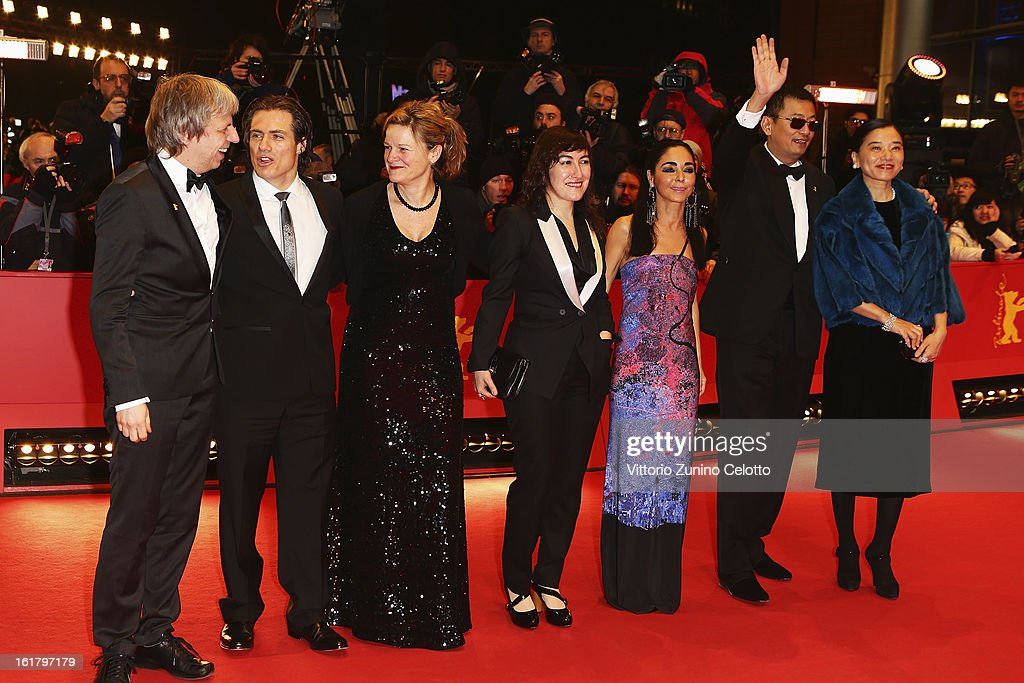 Andreas Dresen, guest, Ellen Kuras, Athina Rachel Tsangari, Shirin Neshat, Wong Kar-Wai and his wife Esther attend the Closing Ceremony of the 63rd Berlinale International Film Festival at Berlinale Palast on February 14, 2013 in Berlin, Germany.
