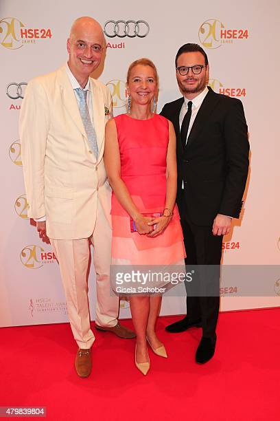 Andreas Englert Editor in chief of Frau im Spiegel Claudia Cieslarczyk Christian Krabichler during the 20 year anniversary event of the home shopping...