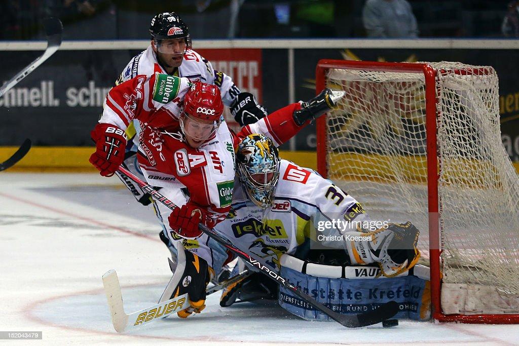 Andreas Falk of Koelner Haie falls over Scott Langkow of Krefeld Pinguine during the DEL match between Koelner Haie and Krefeld Pinguine at Lanxess Arena on September 14, 2012 in Cologne, Germany.