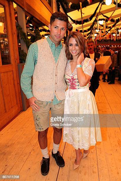 Andreas Ferber and his girlfriend Vanessa Mai during the opening of the oktoberfest 2016 at the Schottenhamel beer tent at Theresienwiese on...