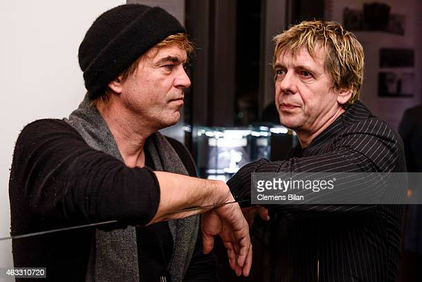 Andreas Frege aka Campino and Andreas Meurer aka Andi of the Band Die Toten Hosen attend the WarmUp at the Glashuette Original lounge during the 65th...