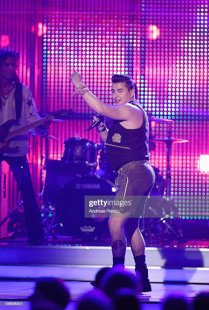Andreas Gabalier performs during the Bambi Award 'Comedy' during the 'BAMBI Awards 2012' at the Stadthalle Duesseldorf on November 22, 2012 in Duesseldorf, Germany.