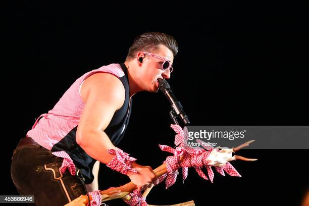 Andreas Gabalier performs live on stage at Krieau Wien on August 15 2014 in Vienna Austria