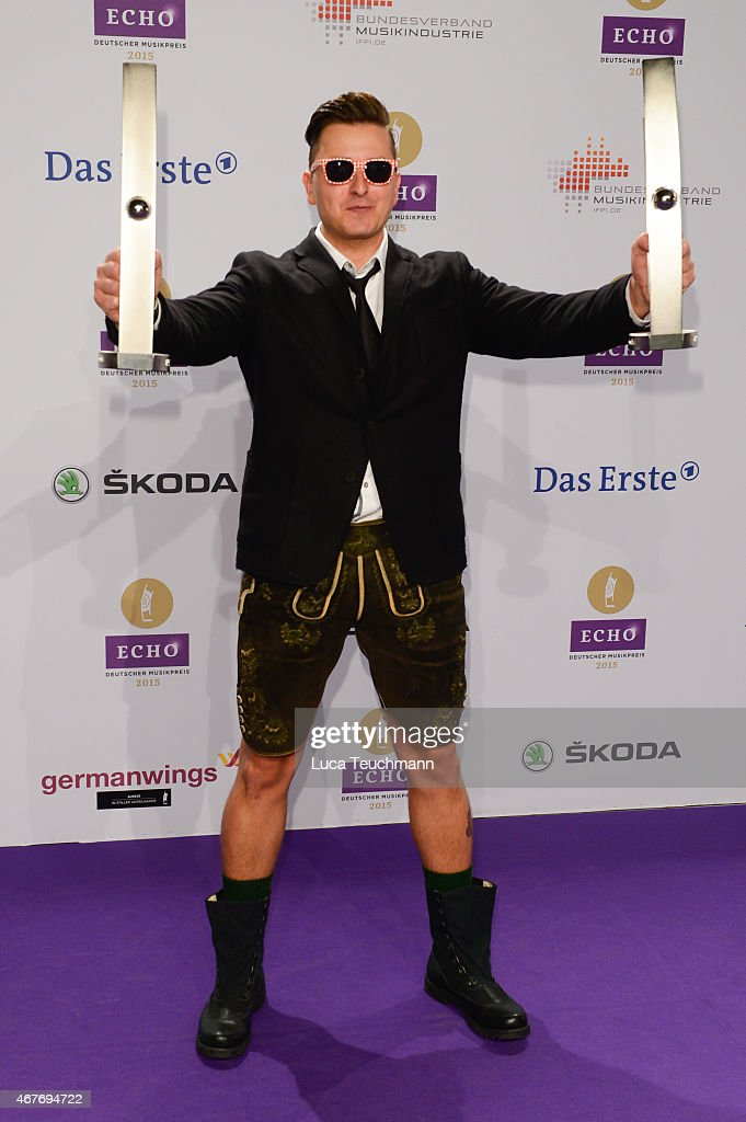 Andreas Gabalier poses with his prize ( ) at the Echo Award 2015 winners board on March 26, 2015 in Berlin, Germany.